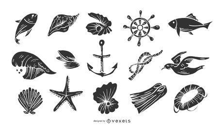 Conjunto náutico elementos blanco y negro