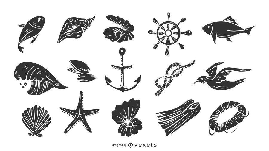 Conjunto de elementos náuticos preto e branco
