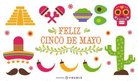 Conjunto de ilustración plana del Cinco de Mayo
