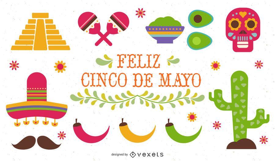 Conjunto de ilustração plana Cinco de Mayo