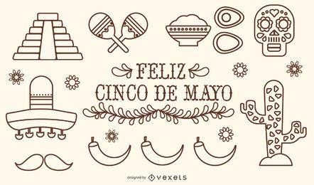 Conjunto de vectores de trazo de México Cinco de Mayo