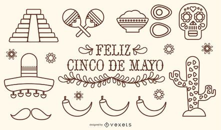 Mexico Cinco de Mayo Stroke Vector Set
