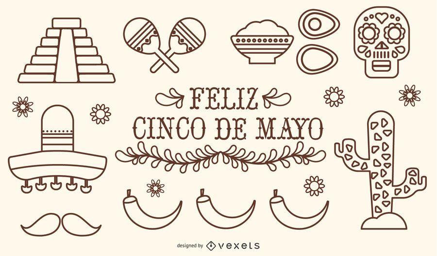 México Cinco de Mayo Stroke Vector Set