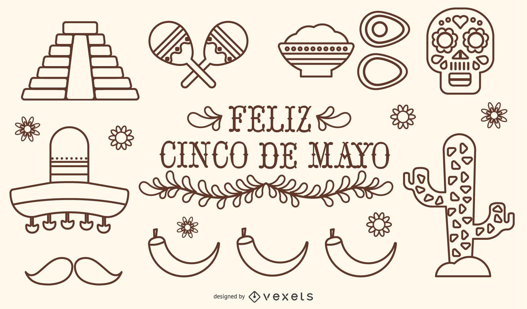 Mexico Cinco de Mayo Stroke Vector Set