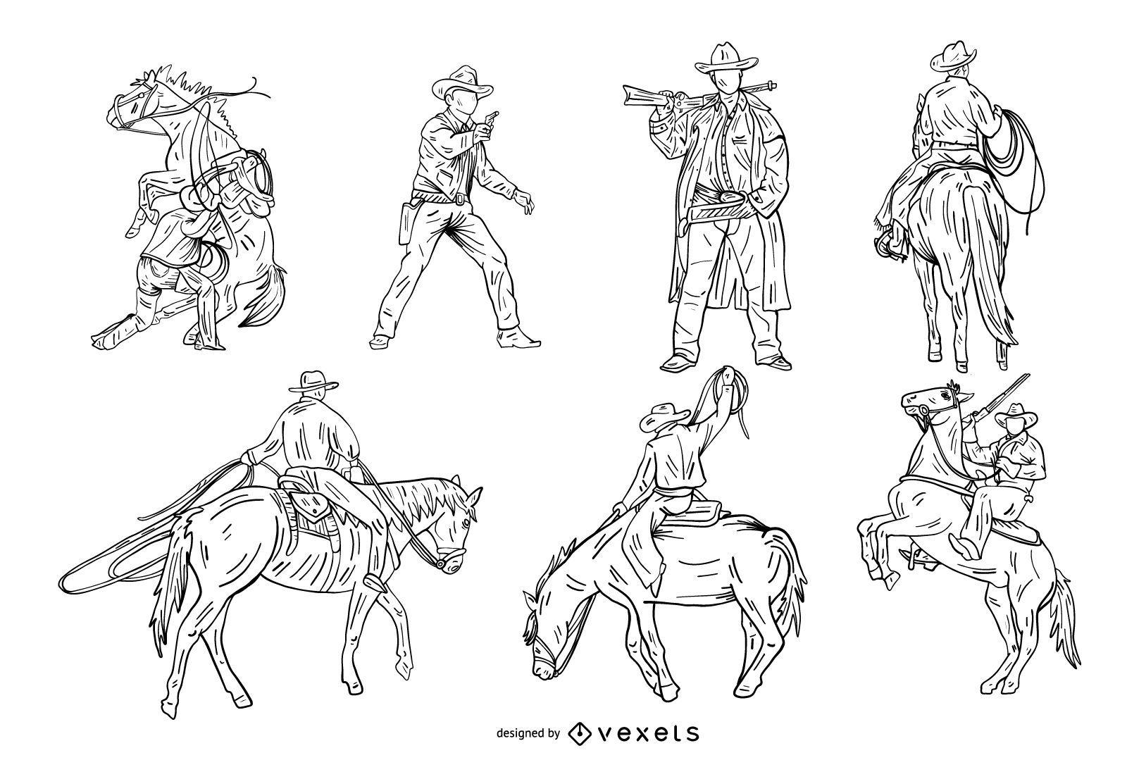 Conjunto de estilo vaquero dibujado a mano