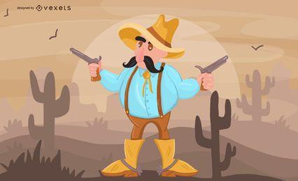 Ilustração dos desenhos animados de vaqueiro