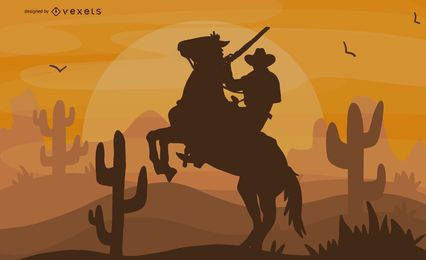 Horseback Riding Cowboy Illustration