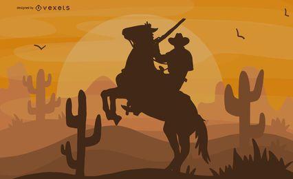 Ilustración de vaquero de equitación