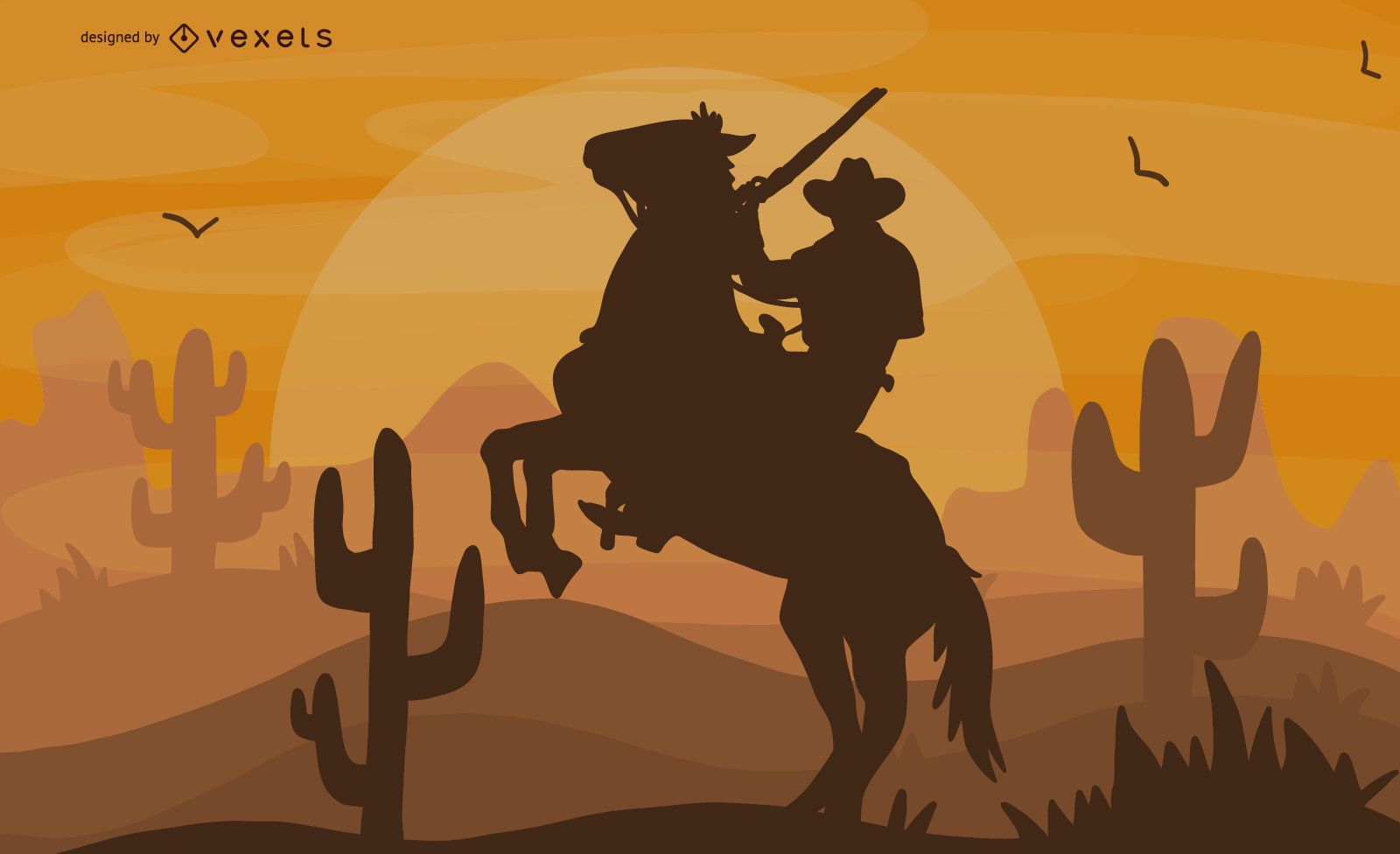 Ilustraci?n de vaquero de equitaci?n