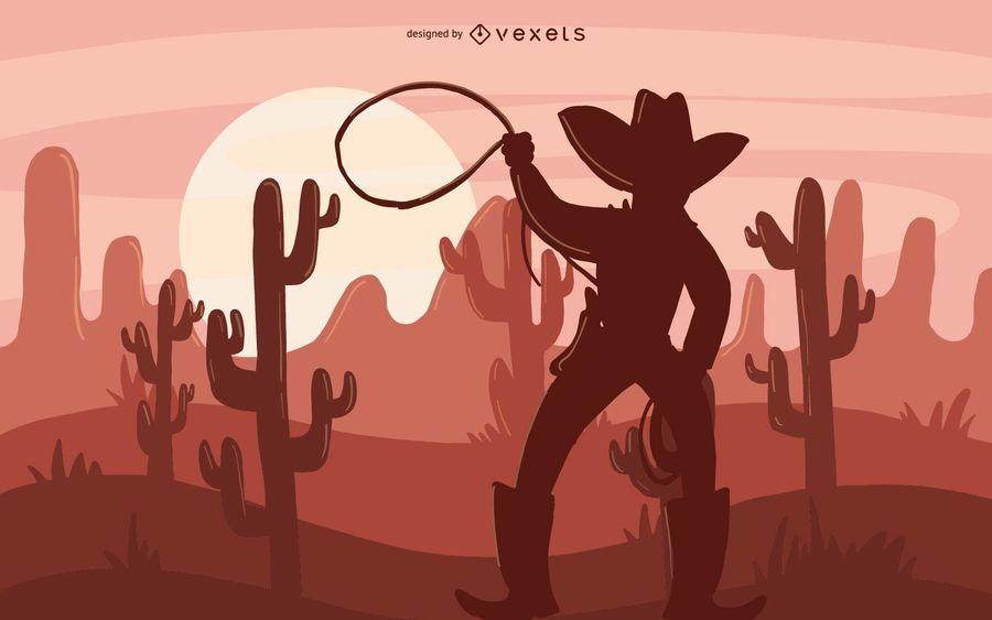 Ilustração de silhueta de vaqueiro