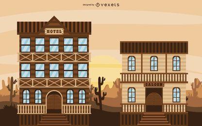 Ilustración de Cowboy Western Town