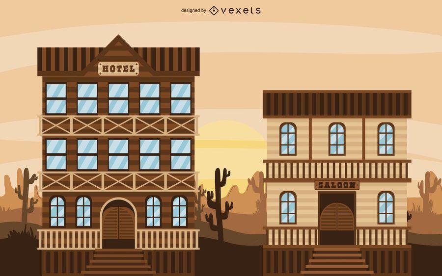 Ilustração de cidade ocidental de vaqueiro