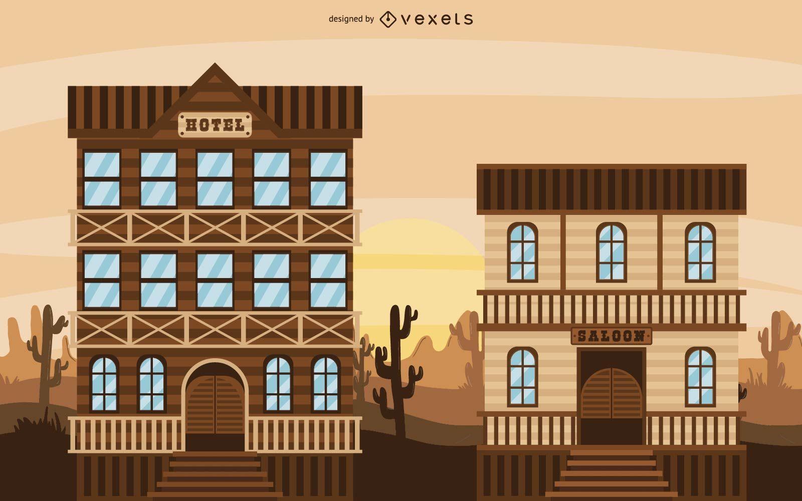 Cowboy Western Town Illustration