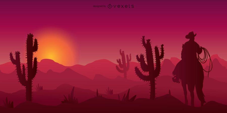 Vaqueiro, deserto ocidental, silueta, ilustração
