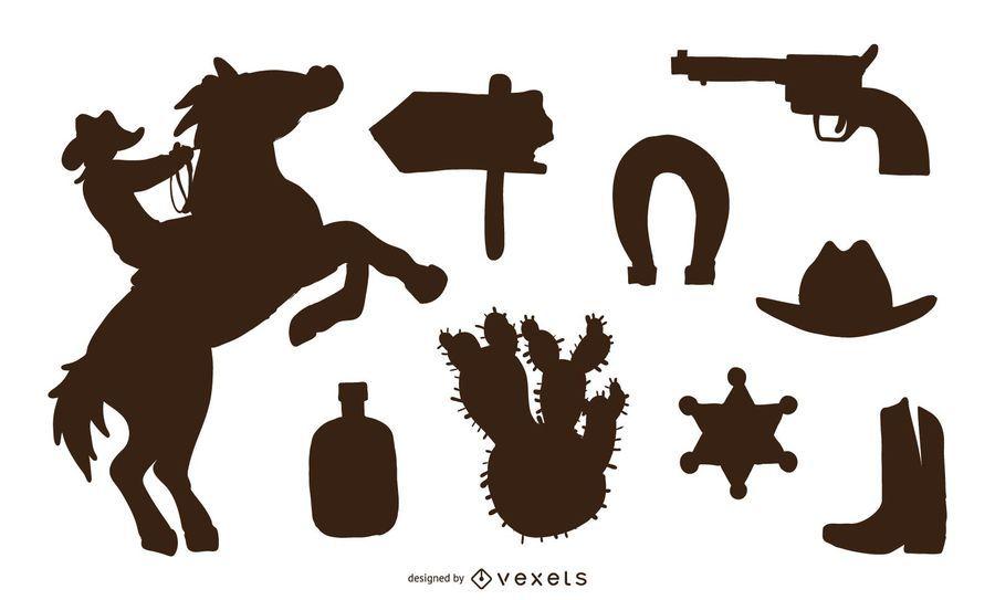 Conjunto de silhueta do oeste selvagem
