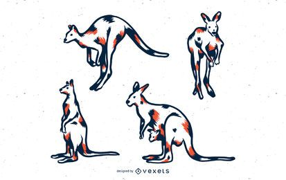 Conjunto de ilustración de canguro duotono