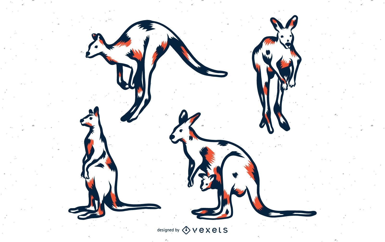 Kangaroo Duotone Illustration Set