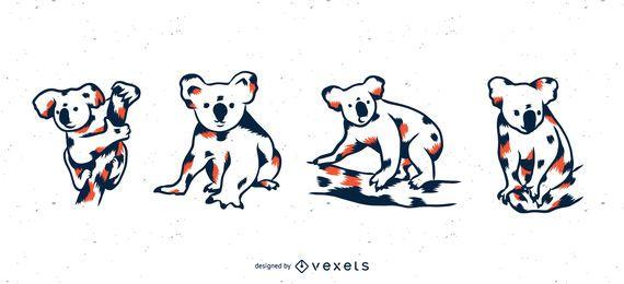 Conjunto de ilustração de Duotone Koala