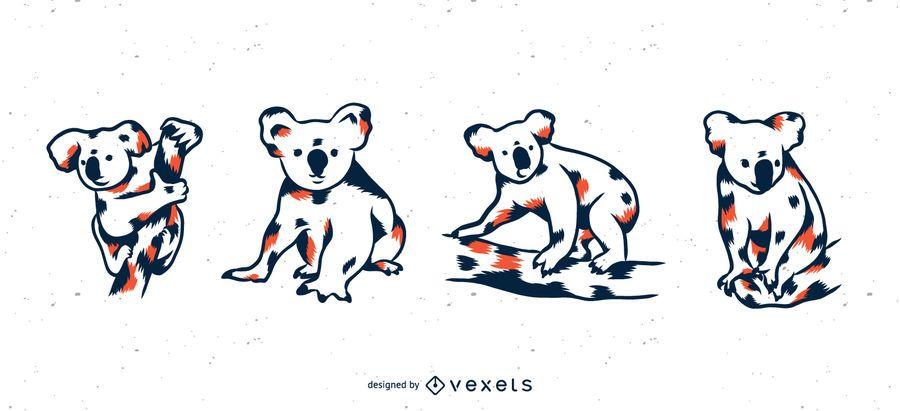 Koala Duotone Illustration Set
