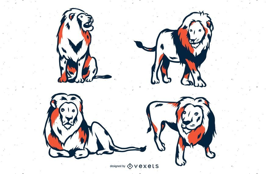 Lion Duotone Illustration Set