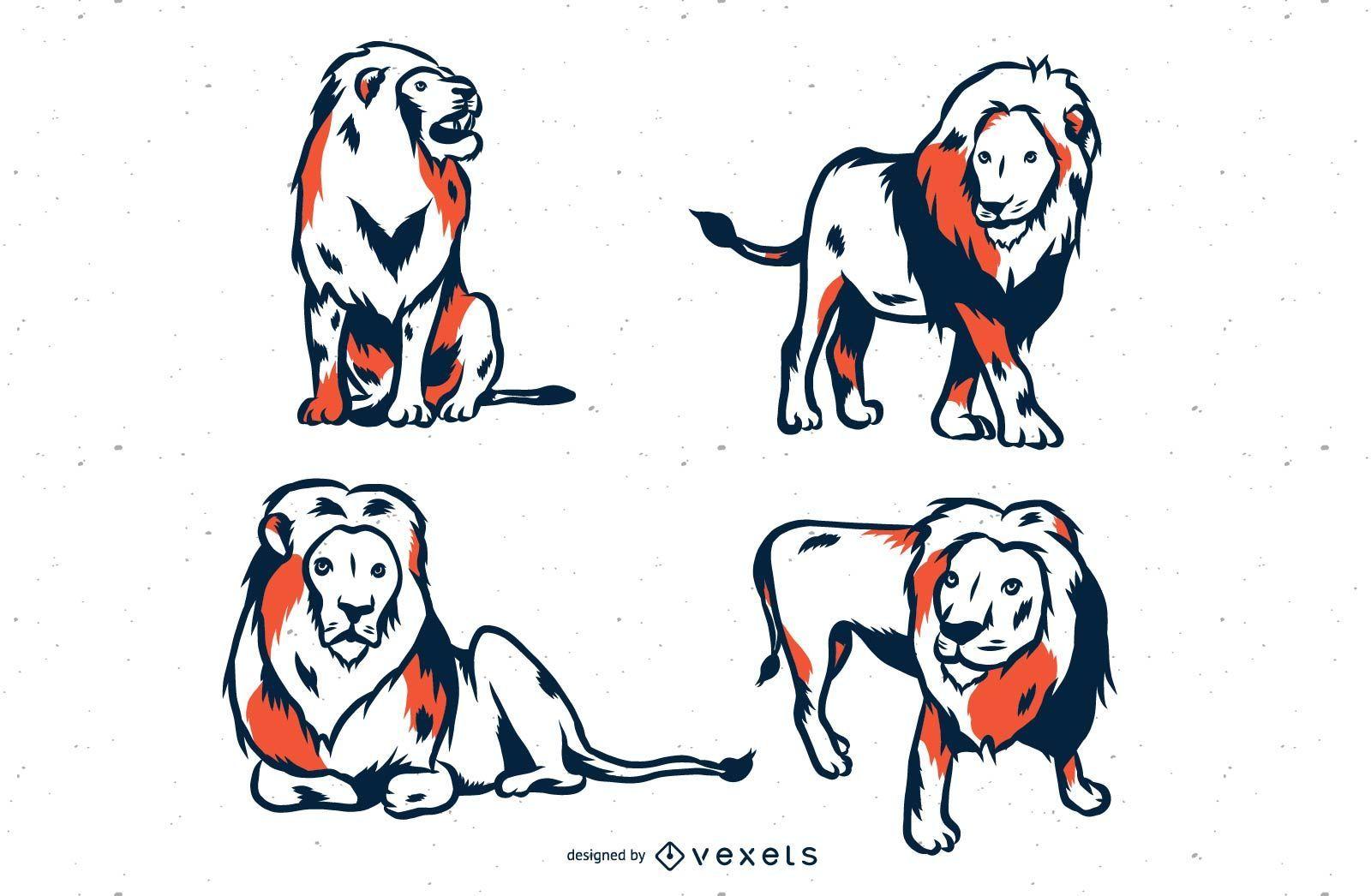 Lion Duotone Illustration Set