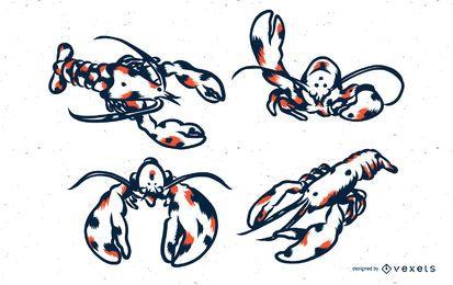 Ilustración de langosta duotono et