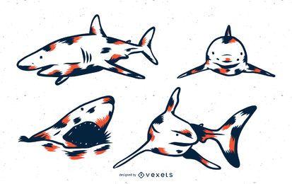 Conjunto de tons de tubarão duo