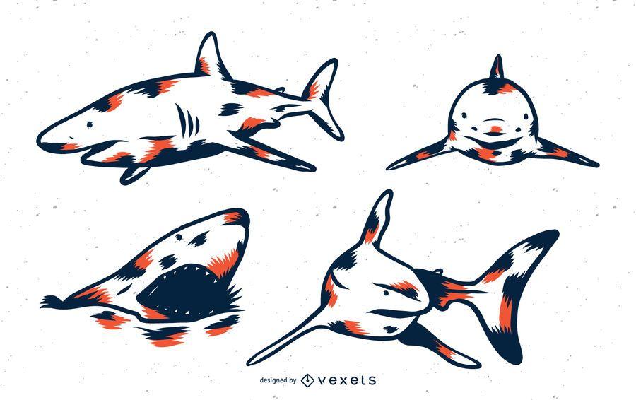Conjunto de tonos de dúo de tiburones