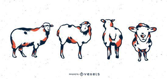 Conjunto de tons de duo de ovelha