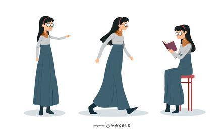 Conjunto de ilustración de mujer nerd