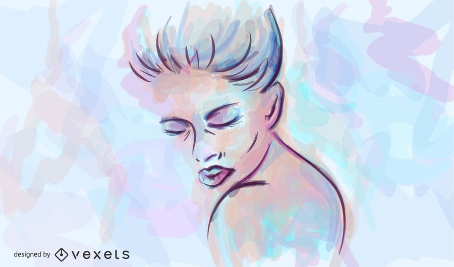 Mulher, aquarela, ilustração