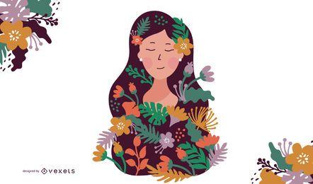 Woman Flowers Illustration