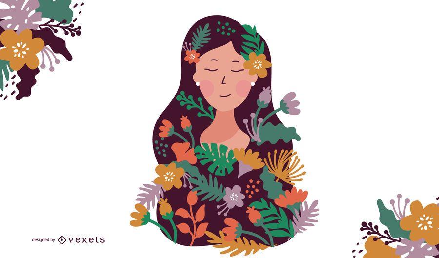 Mulher floresce a ilustração
