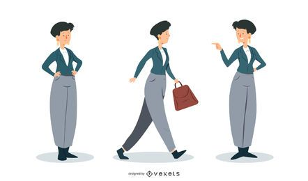 Yuppie Woman Vector Set