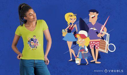 Projeto do t-shirt do dia da praia da família