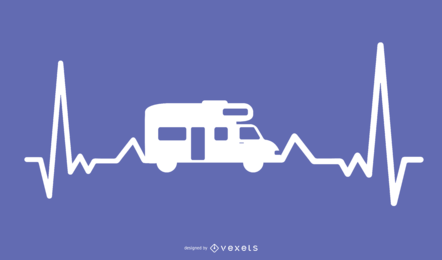 Motor Home Heartbeat Illustration Design