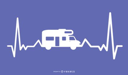 Projeto de ilustração de batimento cardíaco de motor-casa