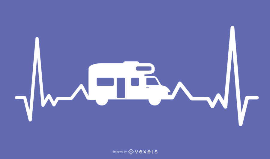 Motor Home Heartbeat Illustration Design
