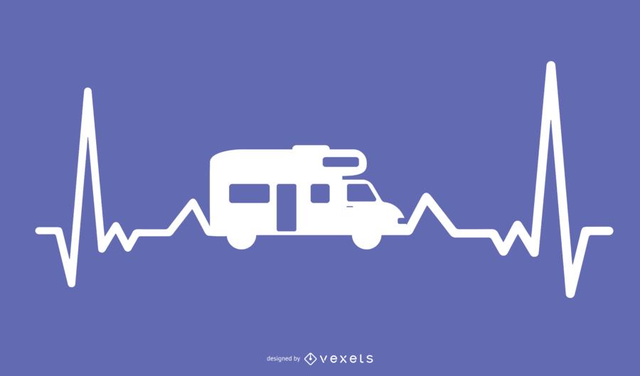 Motor Home Heartbeat Ilustración Diseño