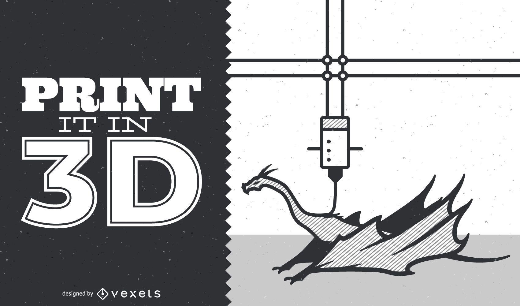 Ilustración de dragón de impresión 3D