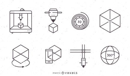 3D-Druck-Icons Set