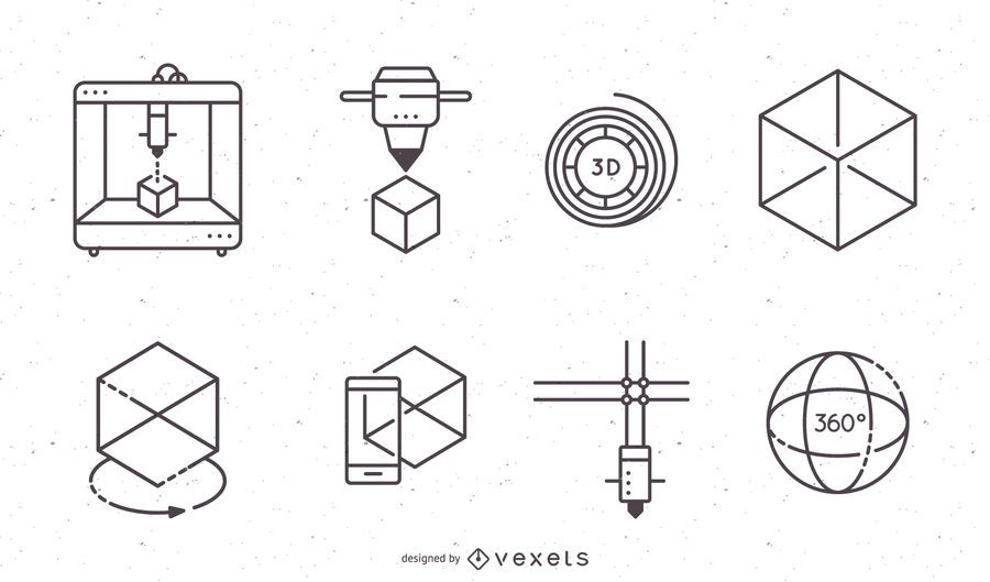 Conjunto de iconos de impresión 3D