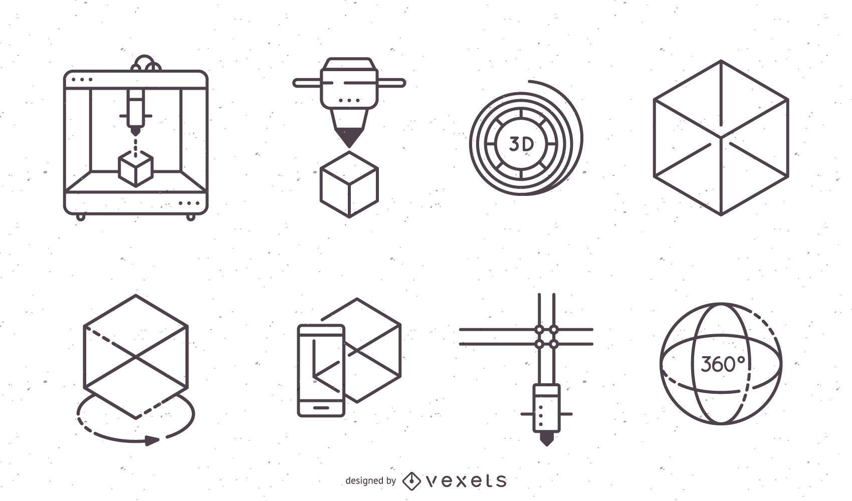 Conjunto de iconos de impresi?n 3D