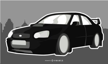 Ilustración elegante negro del coche