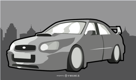 White Modern Car Illustration