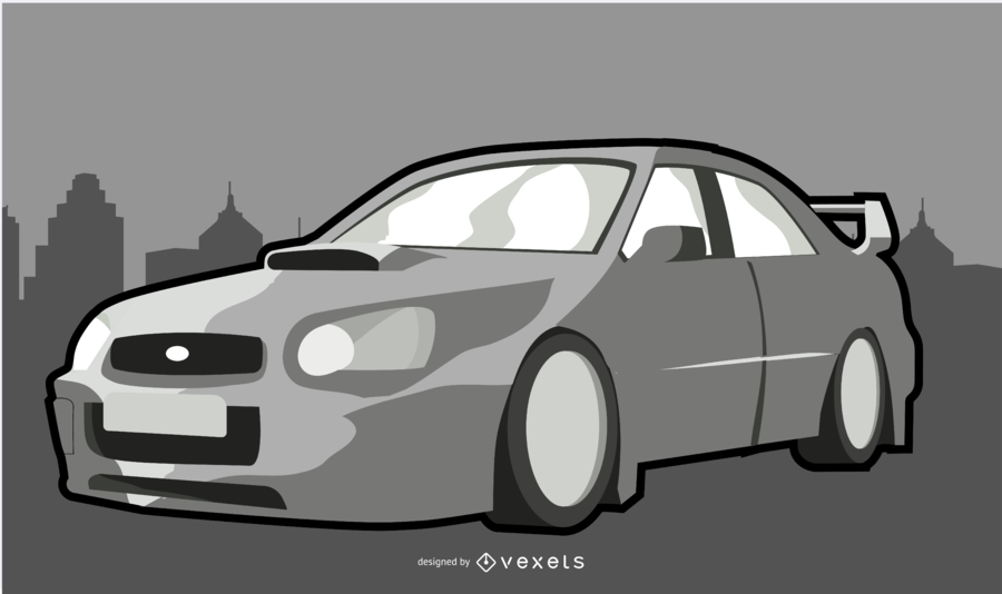 Ilustração de carro moderno branco
