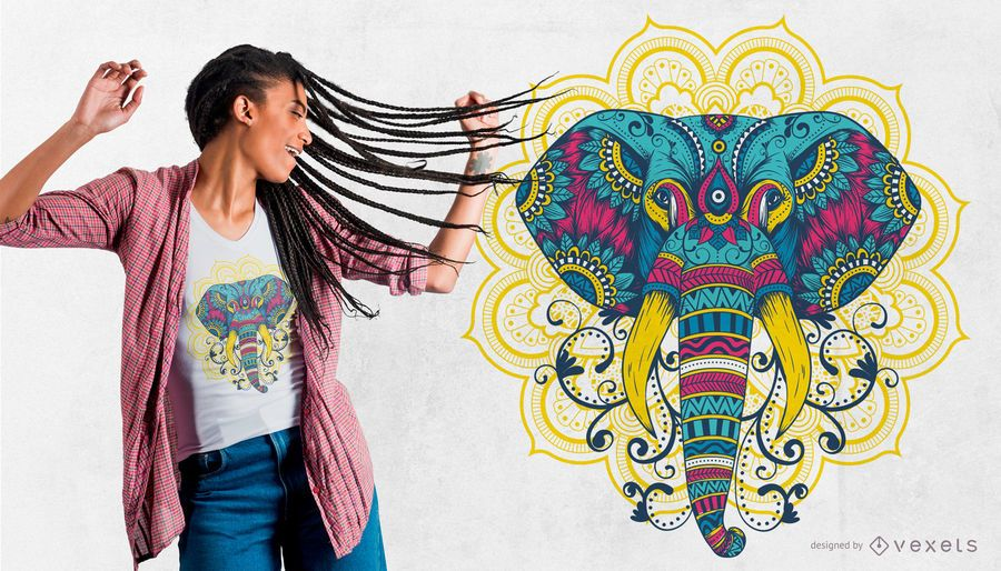 Diseño colorido de la camiseta del elefante de la mandala
