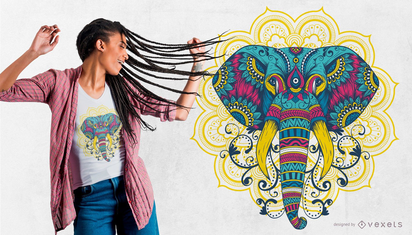 Colorful Mandala Elephant T-Shirt Design