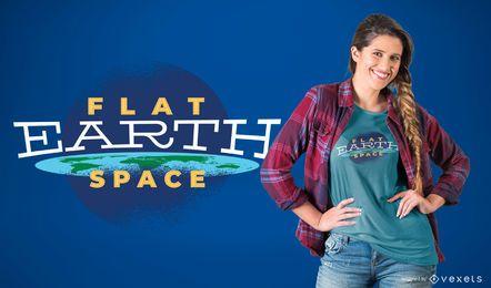 Diseño de camiseta de espacio de tierra plana