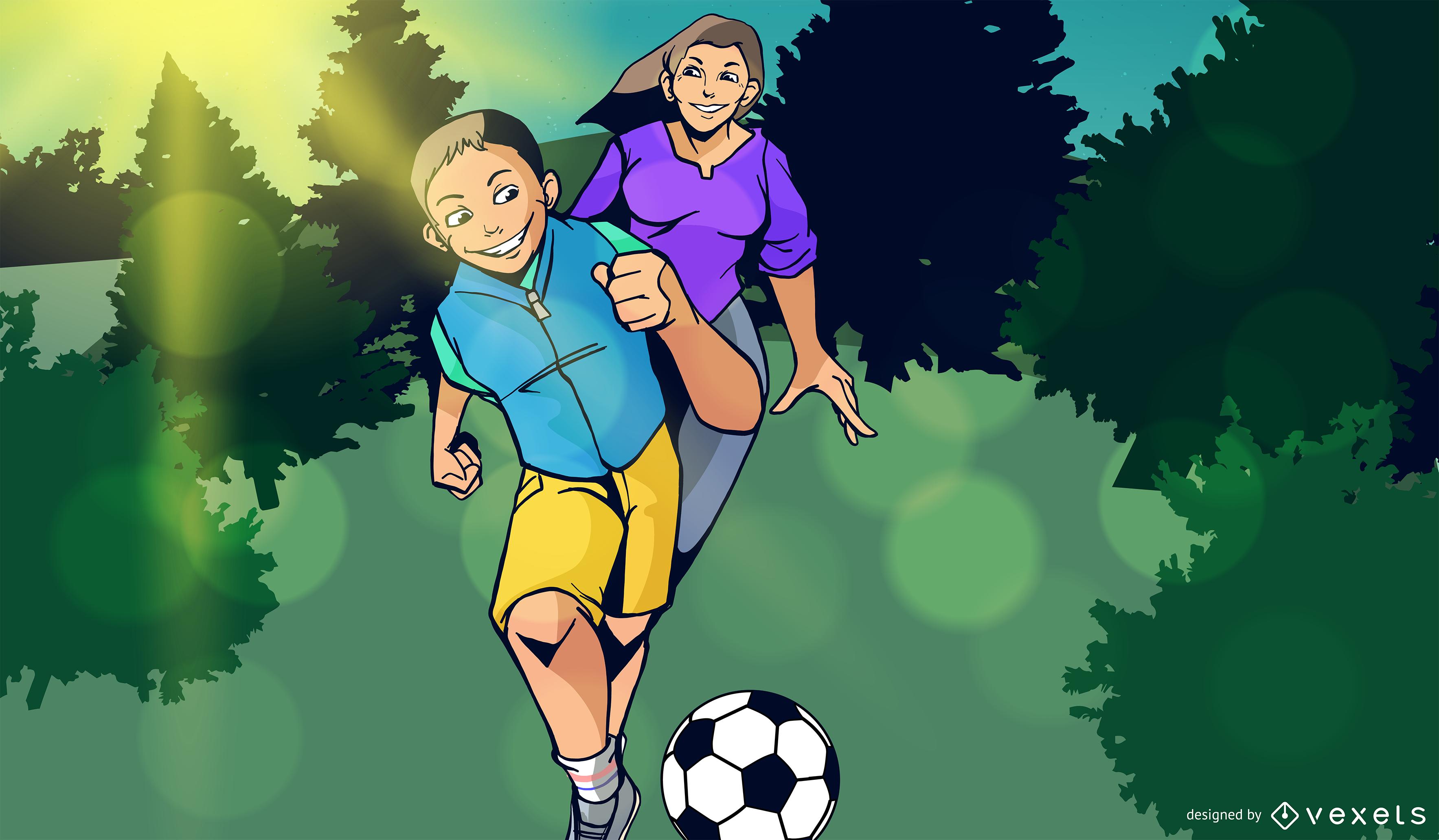 Diseño de ilustración de la familia de fútbol